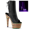 ADORE-1018 Black Faux Leather / Rainbow